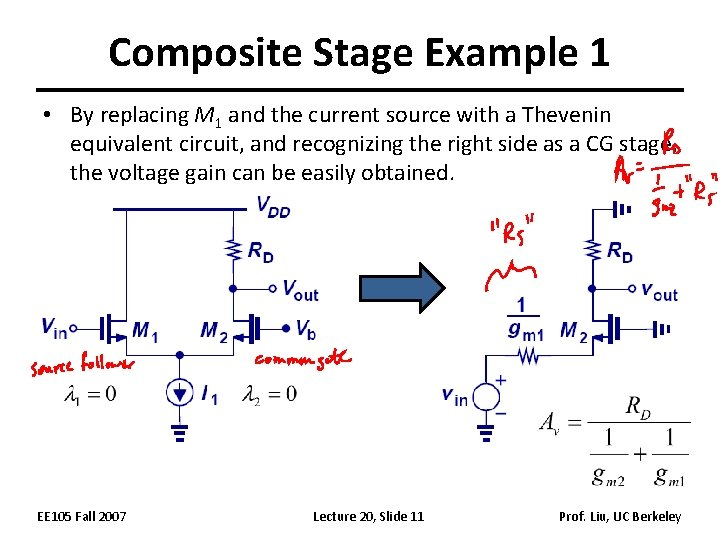 Composite Stage Example 1 • By replacing M 1 and the current source with