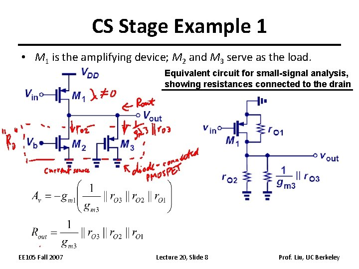 CS Stage Example 1 • M 1 is the amplifying device; M 2 and