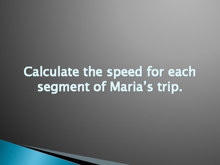 Calculate the speed for each segment of Maria's trip.
