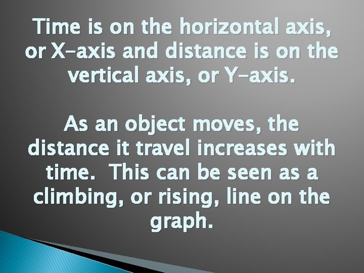 Time is on the horizontal axis, or X-axis and distance is on the vertical