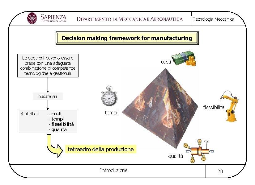 Tecnologia Meccanica Decision making framework for manufacturing Le decisioni devono essere prese con una