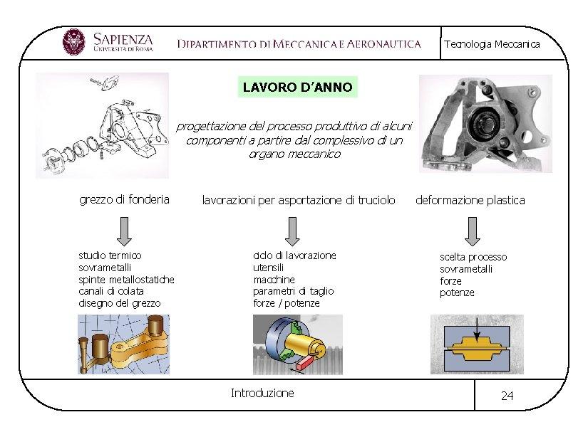 Tecnologia Meccanica LAVORO D'ANNO progettazione del processo produttivo di alcuni componenti a partire dal