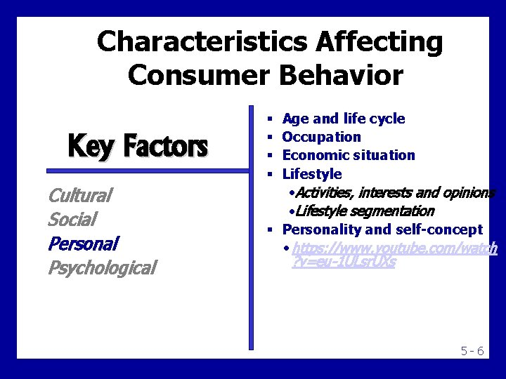 Characteristics Affecting Consumer Behavior Key Factors Cultural Social Personal Psychological Age and life cycle