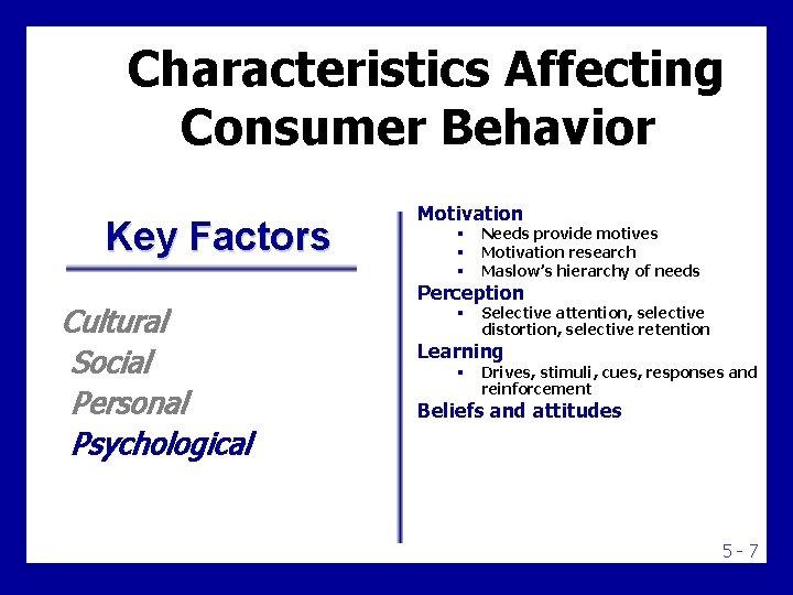 Characteristics Affecting Consumer Behavior Key Factors Cultural Social Personal Psychological Motivation § § §