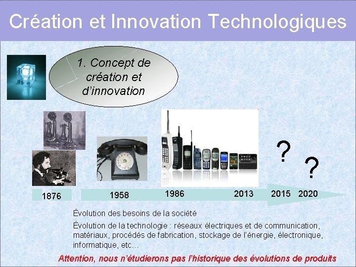 Création et Innovation Technologiques 1. Concept de création et d'innovation ? 1876 1958 1986
