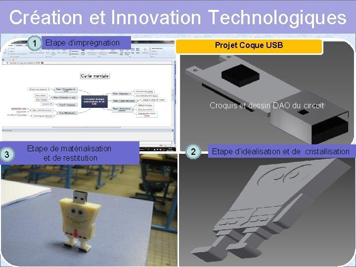 Création et Innovation Technologiques 1 Etape d'imprégnation Projet Coque USB Croquis et dessin DAO