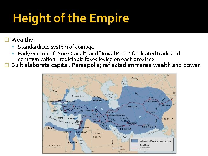"""Height of the Empire � Wealthy! Standardized system of coinage Early version of """"Suez"""