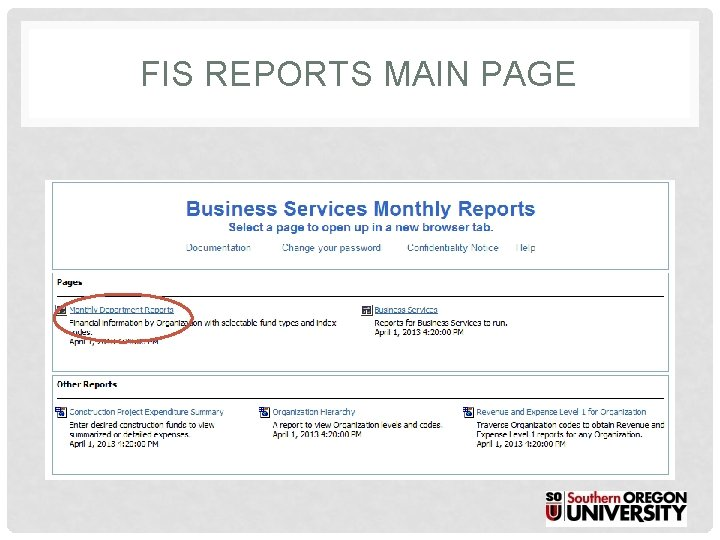 FIS REPORTS MAIN PAGE