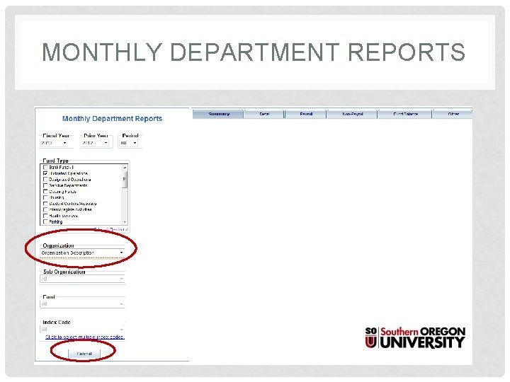 MONTHLY DEPARTMENT REPORTS