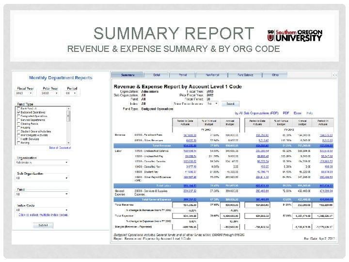 SUMMARY REPORT REVENUE & EXPENSE SUMMARY & BY ORG CODE