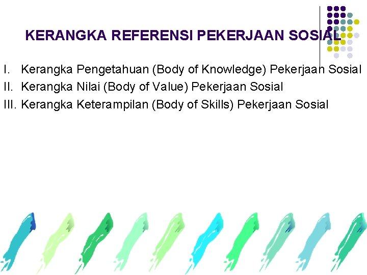 KERANGKA REFERENSI PEKERJAAN SOSIAL I. Kerangka Pengetahuan (Body of Knowledge) Pekerjaan Sosial II. Kerangka