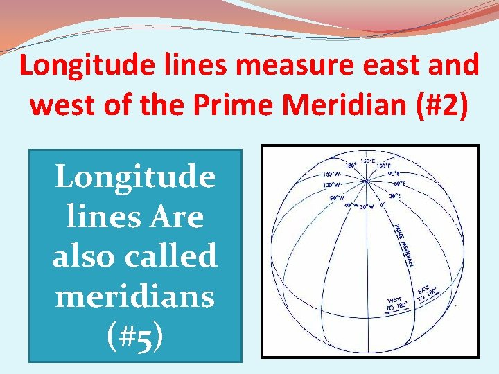 Longitude lines measure east and west of the Prime Meridian (#2) Longitude lines Are