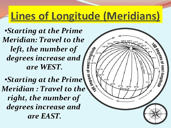 Lines of Longitude (Meridians) • Starting at the Prime Meridian: Travel to the left,