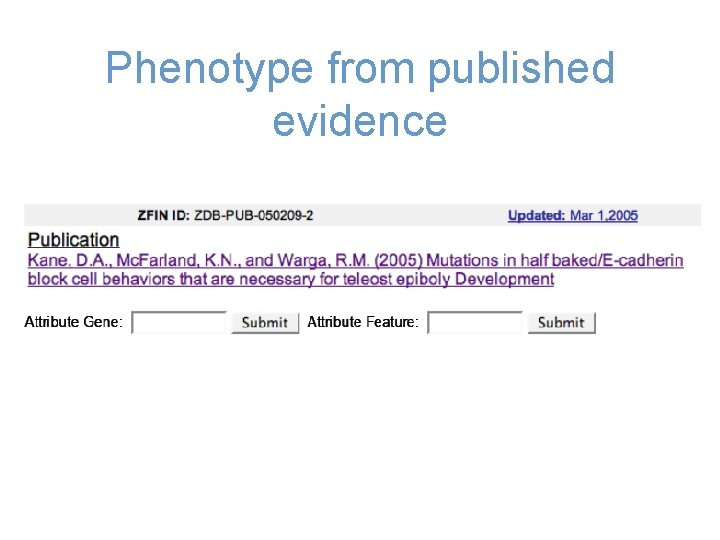 Phenotype from published evidence