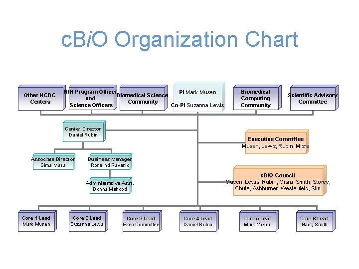 c. Bi. O Organization Chart Other NCBC Centers NIH Program Officer PI Mark Musen