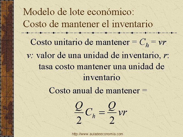 Modelo de lote económico: Costo de mantener el inventario Costo unitario de mantener =