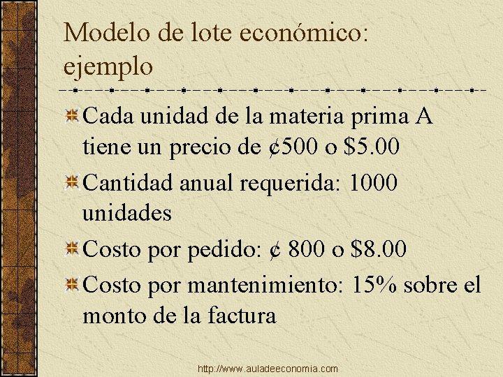 Modelo de lote económico: ejemplo Cada unidad de la materia prima A tiene un