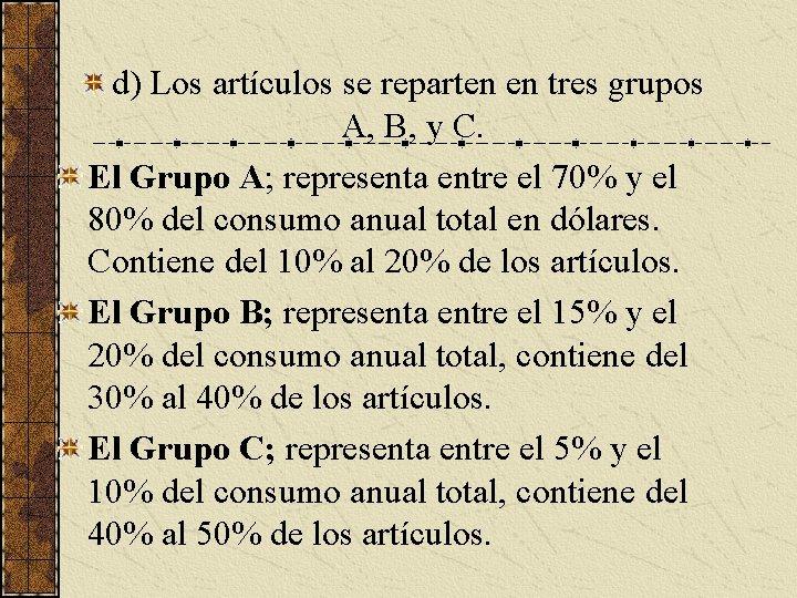 d) Los artículos se reparten en tres grupos A, B, y C. El Grupo