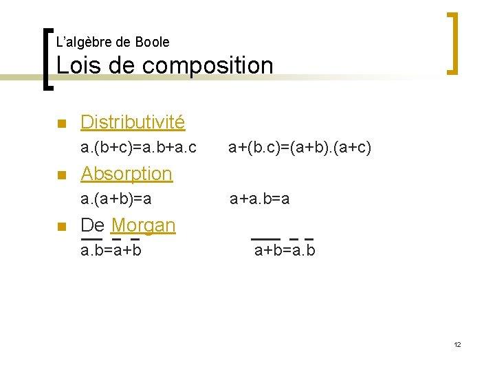 L'algèbre de Boole Lois de composition n Distributivité a. (b+c)=a. b+a. c n Absorption