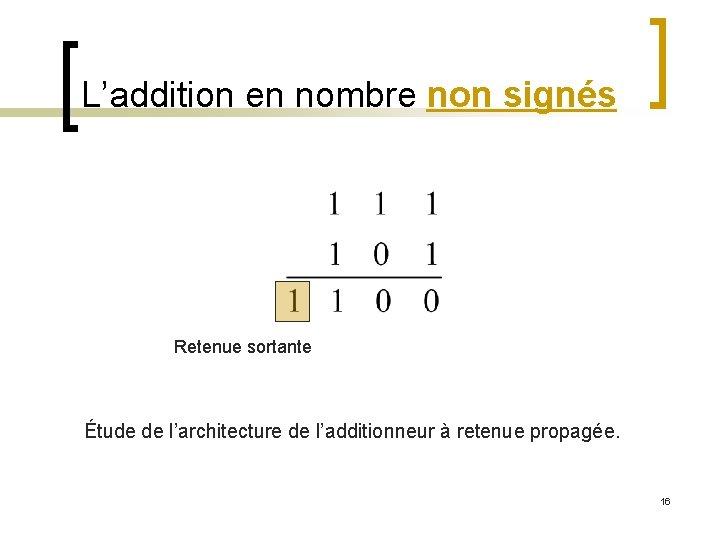 L'addition en nombre non signés Retenue sortante Étude de l'architecture de l'additionneur à retenue