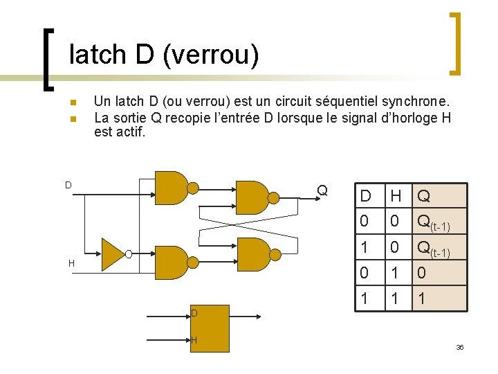 latch D (verrou) n n Un latch D (ou verrou) est un circuit séquentiel