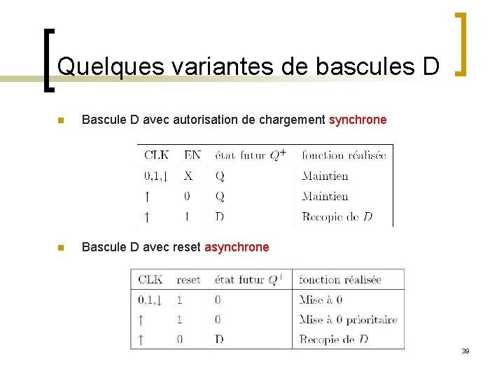 Quelques variantes de bascules D n Bascule D avec autorisation de chargement synchrone n