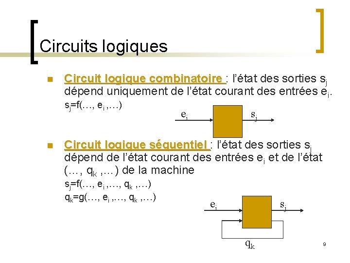 Circuits logiques n Circuit logique combinatoire : l'état des sorties sj dépend uniquement de