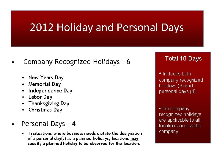 2012 Holiday and Personal Days • Company Recognized Holidays – 6 • • •