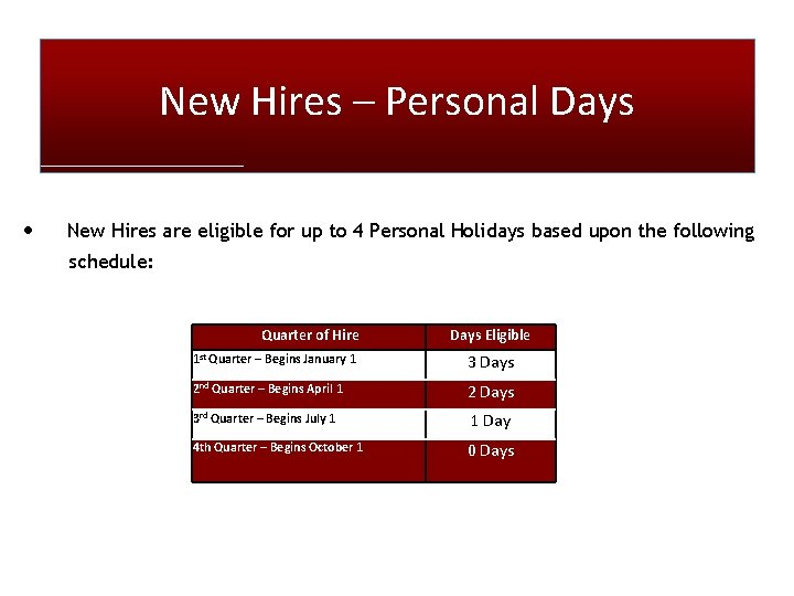 New Hires – Personal Days • New Hires are eligible for up to 4
