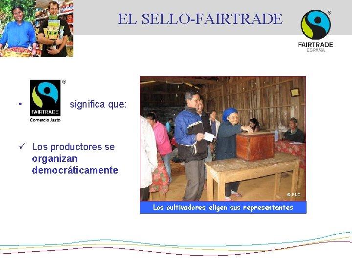 EL SELLO-FAIRTRADE • significa que: ü Los productores se organizan democráticamente © FLO Los