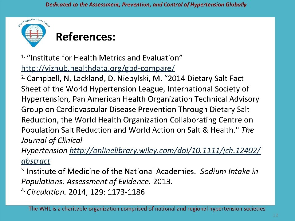 "Dedicated to the Assessment, Prevention, and Control of Hypertension Globally References: 1. ""Institute for"