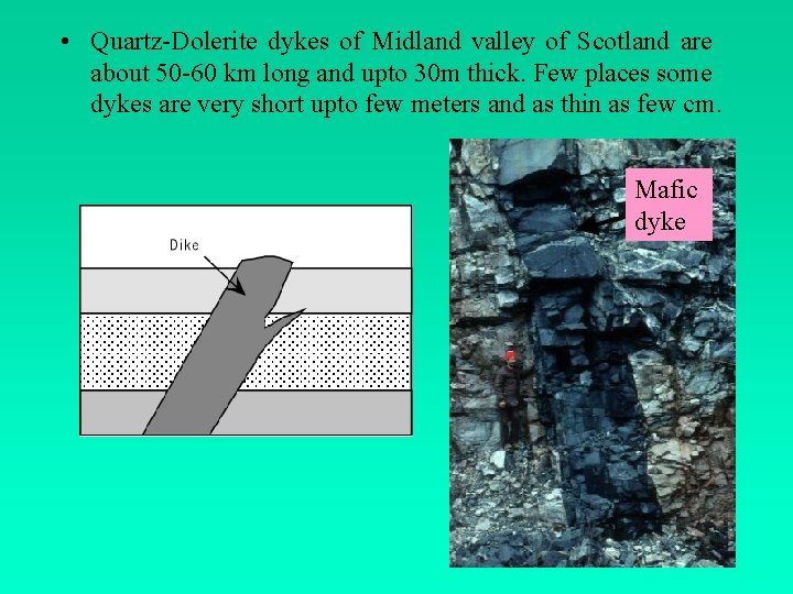 • Quartz-Dolerite dykes of Midland valley of Scotland are about 50 -60 km