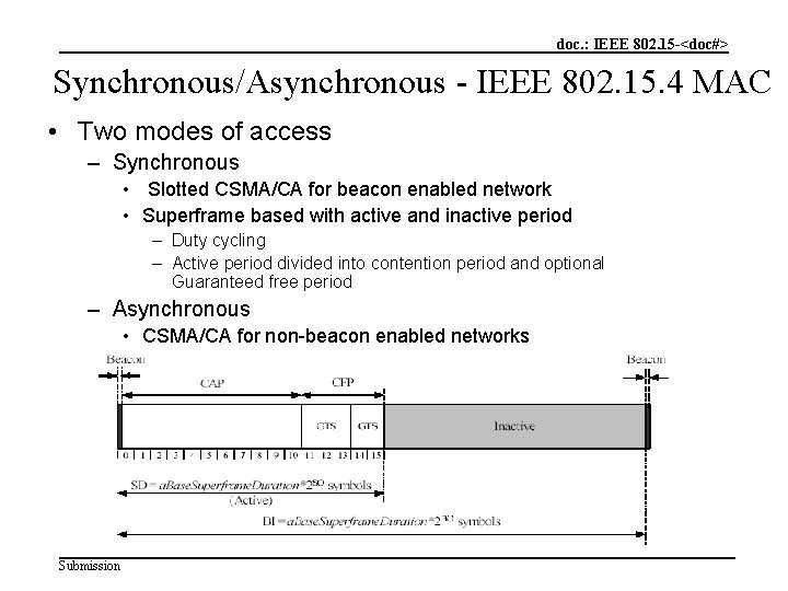 doc. : IEEE 802. 15 -<doc#> Synchronous/Asynchronous - IEEE 802. 15. 4 MAC •