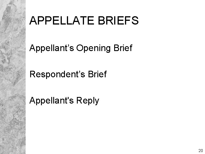 APPELLATE BRIEFS Appellant's Opening Brief Respondent's Brief Appellant's Reply 20