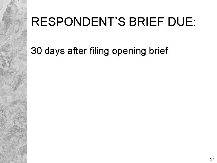 RESPONDENT'S BRIEF DUE: 30 days after filing opening brief 24