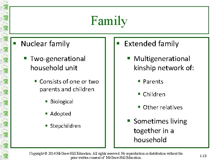 Family § Nuclear family § Two-generational household unit § Consists of one or two