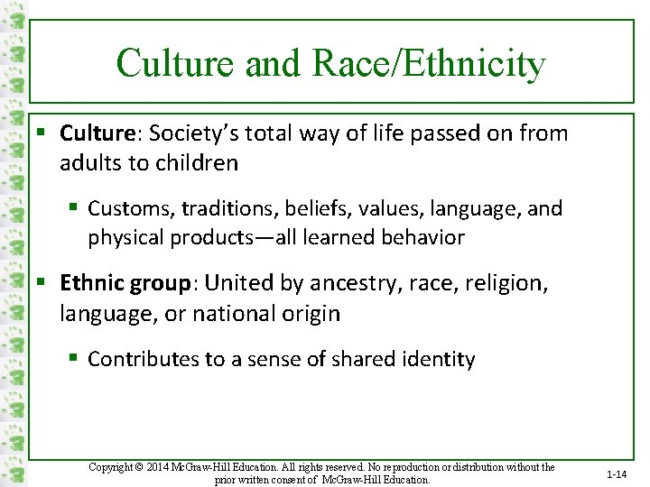 Culture and Race/Ethnicity § Culture: Society's total way of life passed on from adults