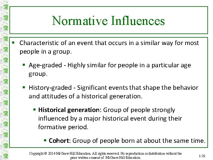 Normative Influences § Characteristic of an event that occurs in a similar way for