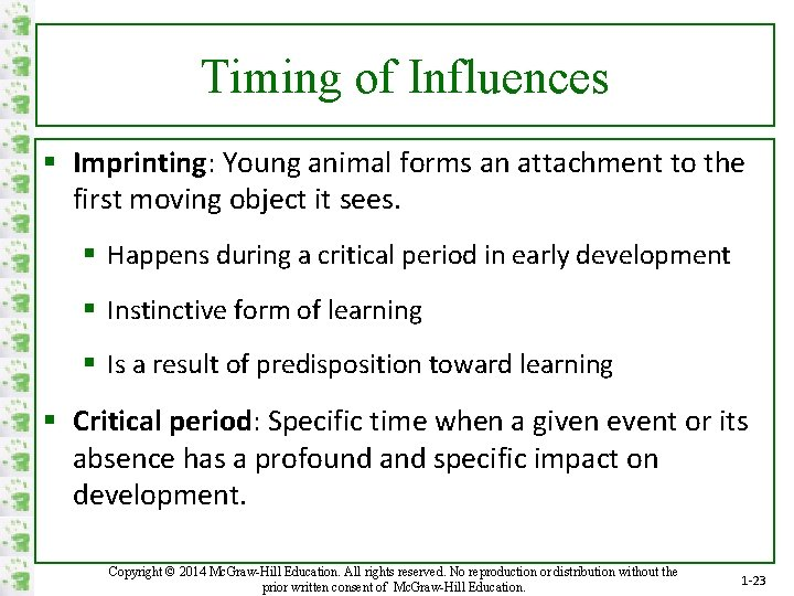 Timing of Influences § Imprinting: Young animal forms an attachment to the first moving