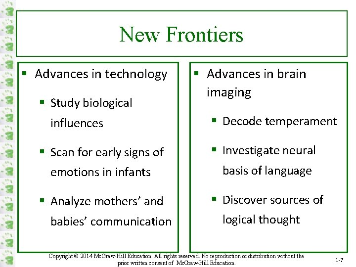 New Frontiers § Advances in technology § Study biological influences § Advances in brain