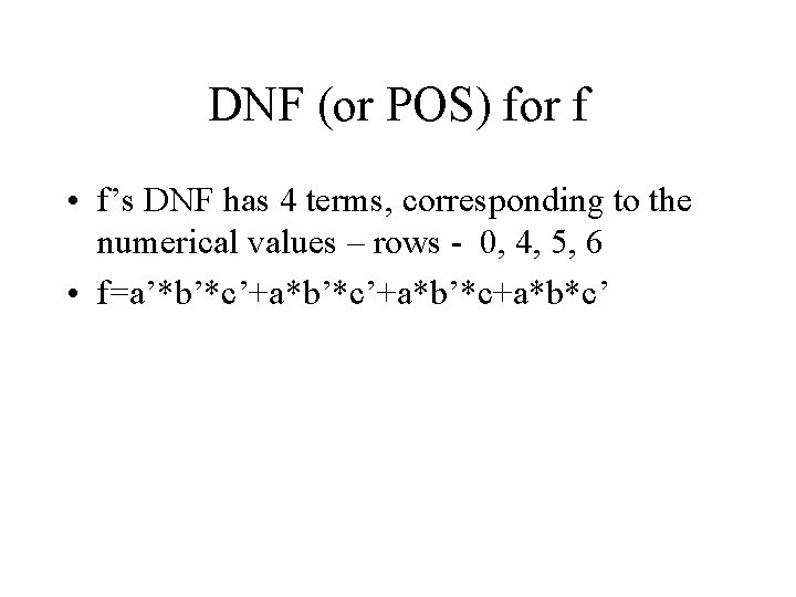 DNF (or POS) for f • f's DNF has 4 terms, corresponding to the