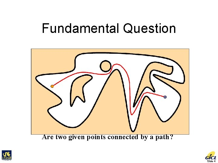 Fundamental Question Are two given points connected by a path? Slide 4