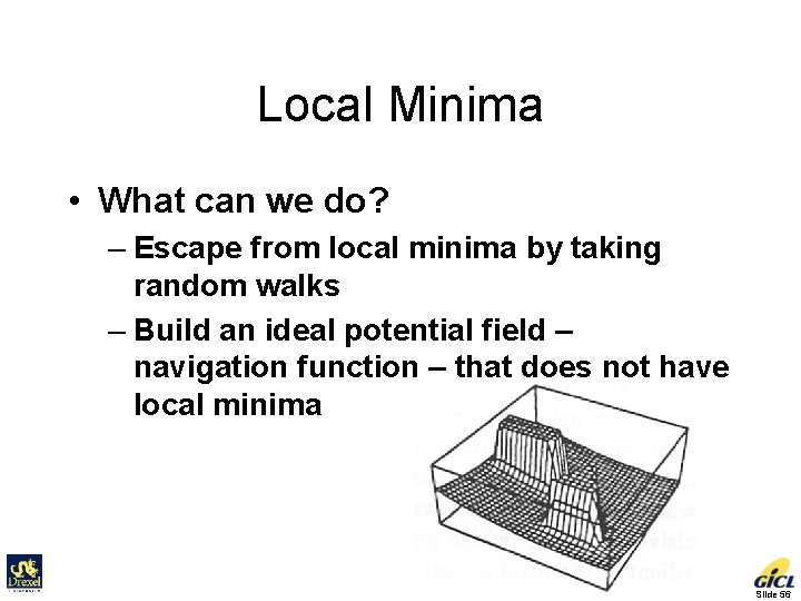 Local Minima • What can we do? – Escape from local minima by taking