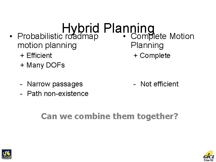 • Hybrid Planning • Complete Motion Probabilistic roadmap motion planning Planning + Efficient