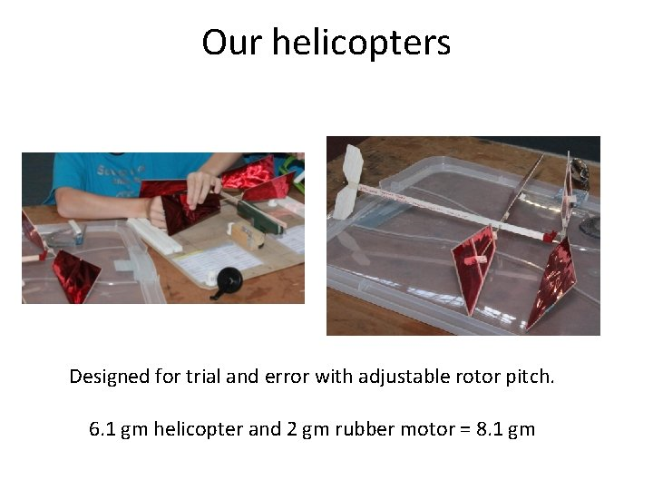 Our helicopters Designed for trial and error with adjustable rotor pitch. 6. 1 gm
