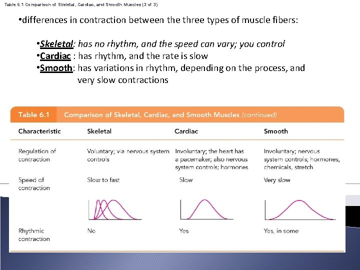 Table 6. 1 Comparison of Skeletal, Cardiac, and Smooth Muscles (3 of 3) •