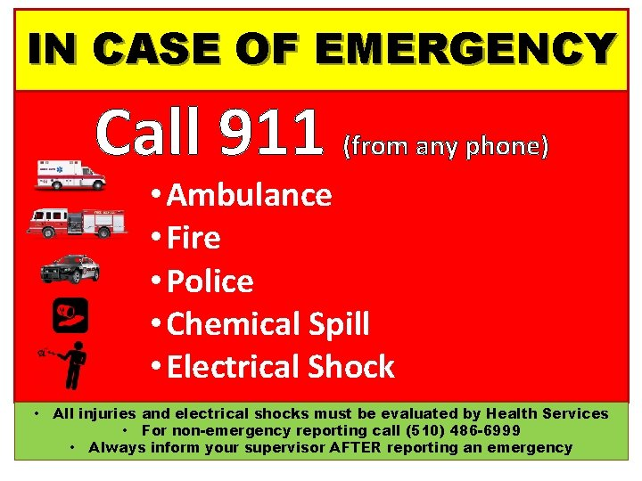 IN CASE OF EMERGENCY Call 911 (from any phone) • Ambulance • Fire •