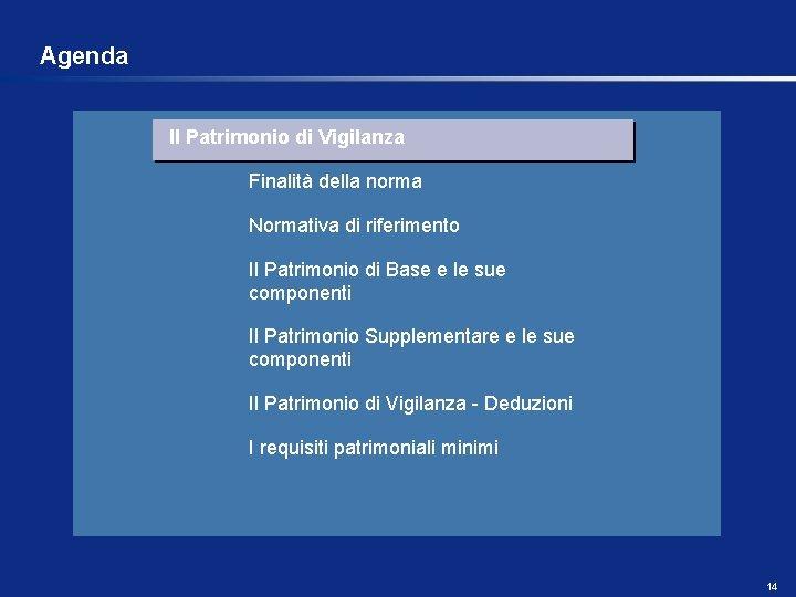 Agenda Il Patrimonio di Vigilanza Finalità della norma Normativa di riferimento Il Patrimonio di