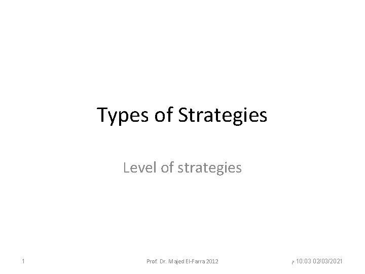 Types of Strategies Level of strategies 1 Prof. Dr. Majed El-Farra 2012 ﻡ 10: