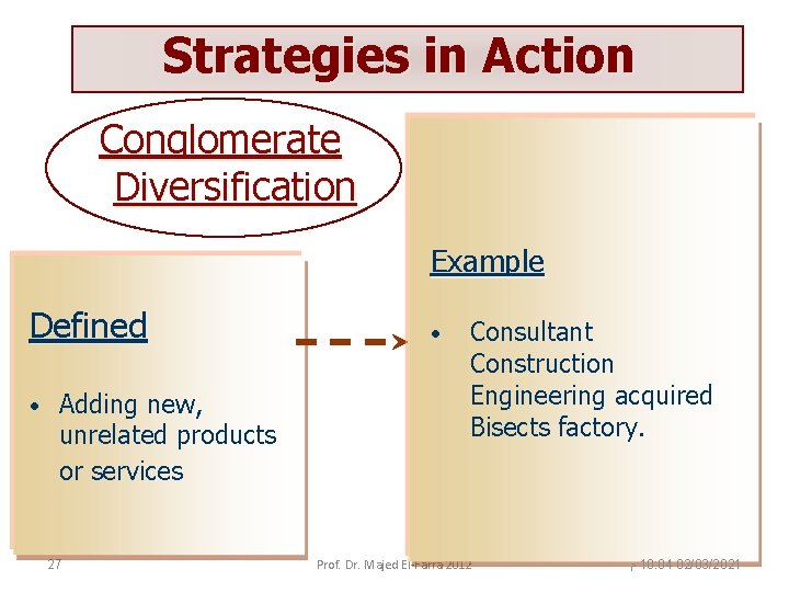 Strategies in Action Conglomerate Diversification Example Defined • Adding new, unrelated products or services